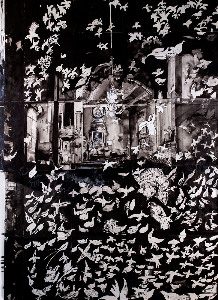 Fåglar i hög sal